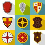 Army shield icons set, flat style Royalty Free Stock Photo