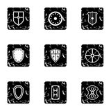 Army shield icons set, grunge style Stock Photo