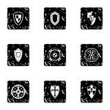 Army shield icons set, grunge style Stock Image