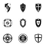 Army shield icons set, simple style Royalty Free Stock Photos