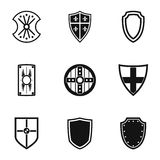 Army shield icons set, simple style Stock Photos