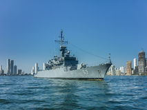 Army Ship in Caribbean Sea at Cartagena Stock Images