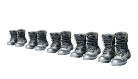 Army shoes row Stock Photo