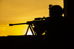 Army sniper seeking enemy Royalty Free Stock Photo