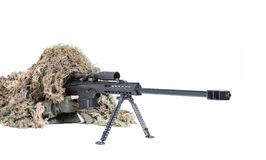 Army sniper wearing a ghillie suit Royalty Free Stock Images