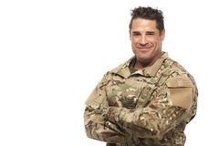 Army soldier with arms crossed Royalty Free Stock Image