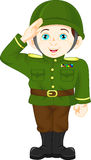 Army soldier boy doing a hand salute Stock Image