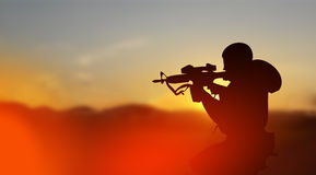 Army soldier in conflict zone concept Stock Photography