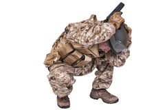 Army soldier crouching Stock Photos