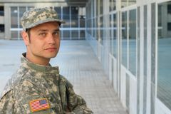 Army Soldier Deep in Thought - Stock image stock photo