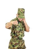 Army soldier fighter hitting with fist Stock Photos