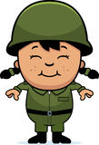 Army Soldier Girl. A cartoon illustration of an army soldier girl standing and smiling Stock Image