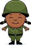Army Soldier Girl. A cartoon illustration of an army soldier girl standing and smiling Royalty Free Stock Images