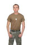 Army soldier guy. One fit attractive soldier in a brown t-shirt with dogtags half length portrait over white Stock Photo