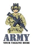 Army soldier in military uniform. Color, drawing, illustration, logo, design royalty free illustration