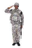 Army Soldier Saluting. Portrait Of Afro-american Army Soldier Saluting Over White Background stock image