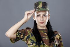 Army soldier swear solemnly with hand on heart Royalty Free Stock Photography
