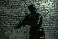 Army soldier with weapons stock photography