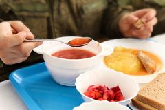 Dining room in armiyu. What to eat military. Real photo from the army, about the life of soldiers. Food military. Lunch a soldier Royalty Free Stock Images