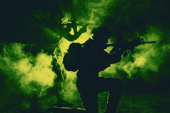 Army soldiers attacking Royalty Free Stock Images