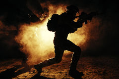 Army soldiers attacking Royalty Free Stock Photography
