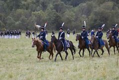 Army soldiers at Borodino battle historical reenactment in Russia royalty free stock photography