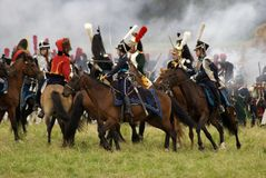 Army soldiers at Borodino battle historical reenactment in Russia royalty free stock image