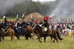 Army soldiers at Borodino battle historical reenactment in Russia stock photography