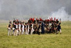 Army soldiers at Borodino battle historical reenactment in Russia stock photo