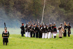 Army soldiers at Borodino battle historical reenactment in Russia Stock Images