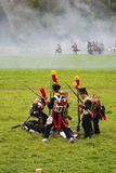 Army soldiers at Borodino battle historical reenactment in Russia Stock Photos