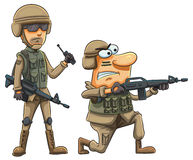 Army Soldiers. Cartoon illustration of army soldiers shooting Royalty Free Stock Photos