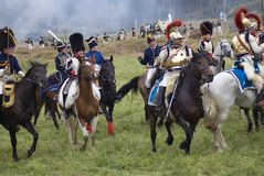 Army soldiers cuirassiers at Borodino battle historical reenactment in Russia Royalty Free Stock Image