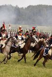 Army soldiers cuirassiers at Borodino battle historical reenactment in Russia Royalty Free Stock Photography