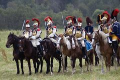 Army soldiers cuirassiers at Borodino battle historical reenactment in Russia Stock Photography