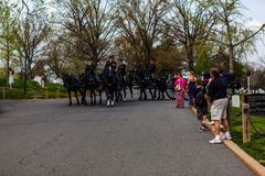 Army Soldiers on Horses at Arlington Cemetery Stock Photography
