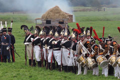 Army soldiers - musicians at Borodino battle historical reenactment in Russia Royalty Free Stock Image