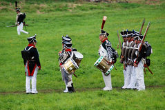 Army soldiers-musicians at Borodino battle historical reenactment in Russia Stock Photo