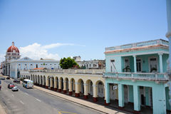 Army square, Cienfuegos. Army square, with an different old cars. Cienfuegos stock photos