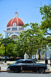 Army square, Cienfuegos. Army square, with an old car. Cienfuegos royalty free stock photos
