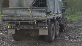 Army Staff Russian truck driving on dirt road stock video