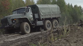 Army Staff Russian truck driving on dirt road stock video footage