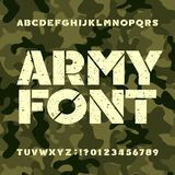 Army stencil alphabet font. Grunge bold letters and numbers on military camo background. Vector typeset for your design royalty free illustration