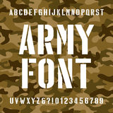 Army stencil alphabet font. Type letters and numbers on distressed camo seamless  background. Stock Image