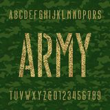 Army stencil alphabet font. Type letters and numbers on a green camo seamless  background. Royalty Free Stock Photography