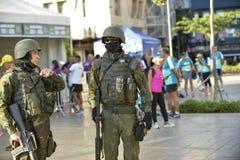 Army in the streets of Rio de Janeiro. Rio de Janeiro, Brazil - april 29, 2018: Army makes patrol on the streets of the city center of Rio de Janeiro, after stock photo