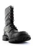 Army style black leather boot Royalty Free Stock Image