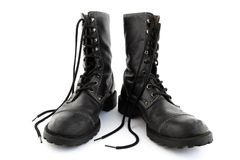 Army style black leather boots Royalty Free Stock Images
