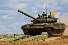 Army tank. Military training. Summer military exercises Stock Photos
