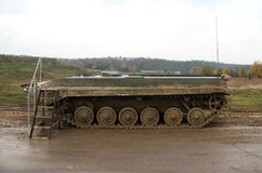 Army tank in the rainy weather Royalty Free Stock Photography